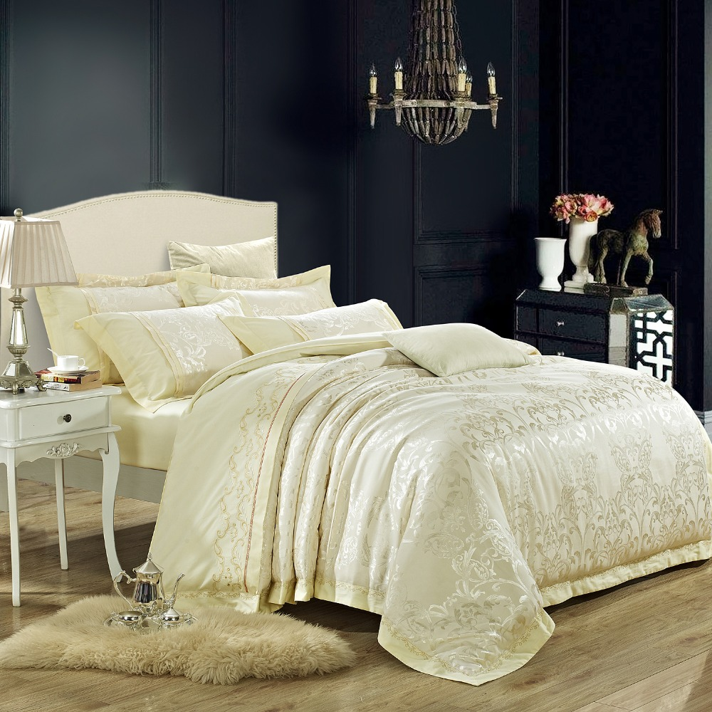 Bed sheets designs white - Silk Cotton Jacquard Luxury Wedding Bedding Set King Queen Size White Color Bohemia Designer Bedcover Bedsheet