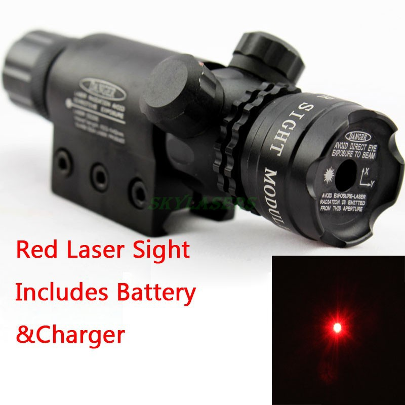 hunting Adjustable red laser sight outside airsoft rifle gun scope riflescope Tail Switch Gun Rifle With Mount Battery & Charger