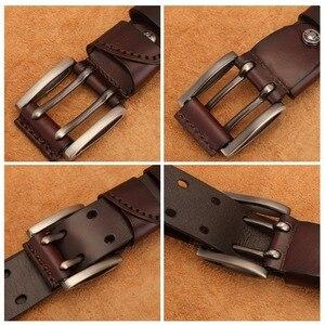 Image 5 - ביזון ינס Mens אמיתי חגורת עור בציר ג ינס חגורה רצועת כפול סיכת אבזם מעצב חגורות עור לגברים זכר מתנה n71247