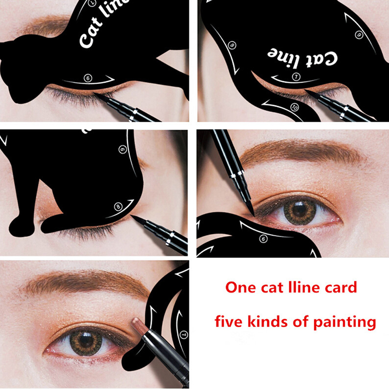 Eyebrow Stencils Cat Eyeliner Model Stencil Kit Guide Template Maquiagem Double Wing Eye Shadow Frame Card Makeup Tool