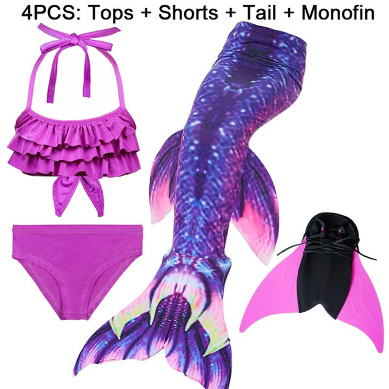4pcs Swimmable Children Mermaid Tail Zeemeerminstaart Met Monofin Fin Girls Kids Swimsuit Mermaid Tail Costume for Girl Swimming