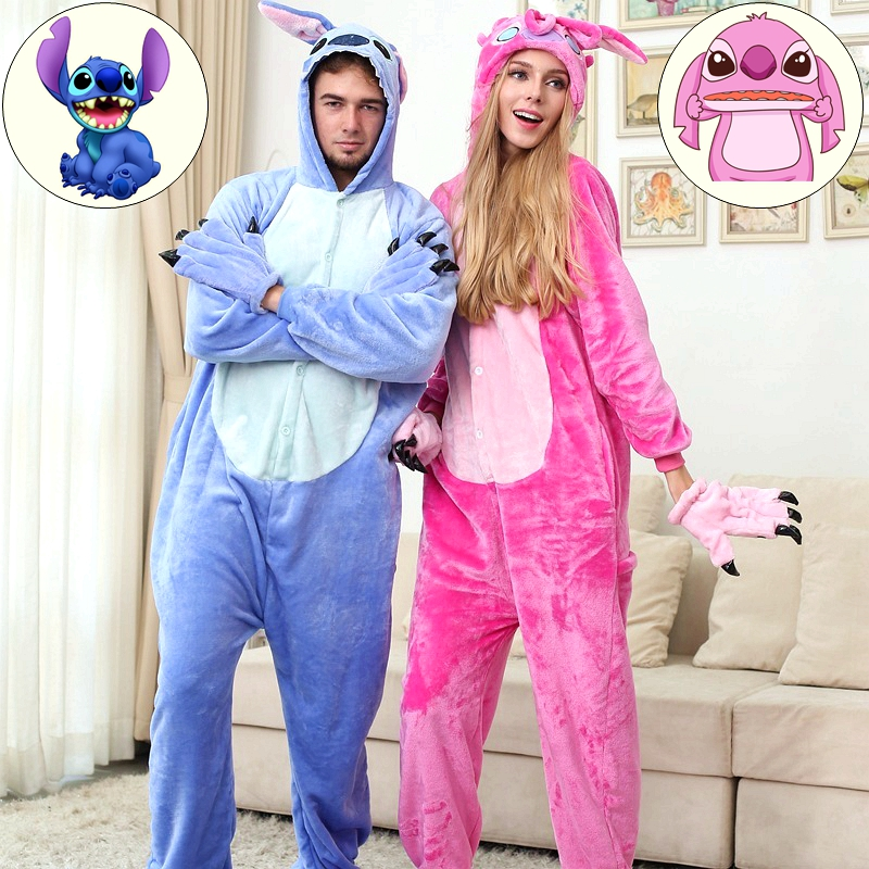 a97cdc2edc85 Stitch Dragon Dinosaur Pikachu Cat Kengurumi Adult Animal Pajamas Onesies  Pajama Halloween Costumes For Women Men-in Pajama Sets from Underwear    Sleepwears ...