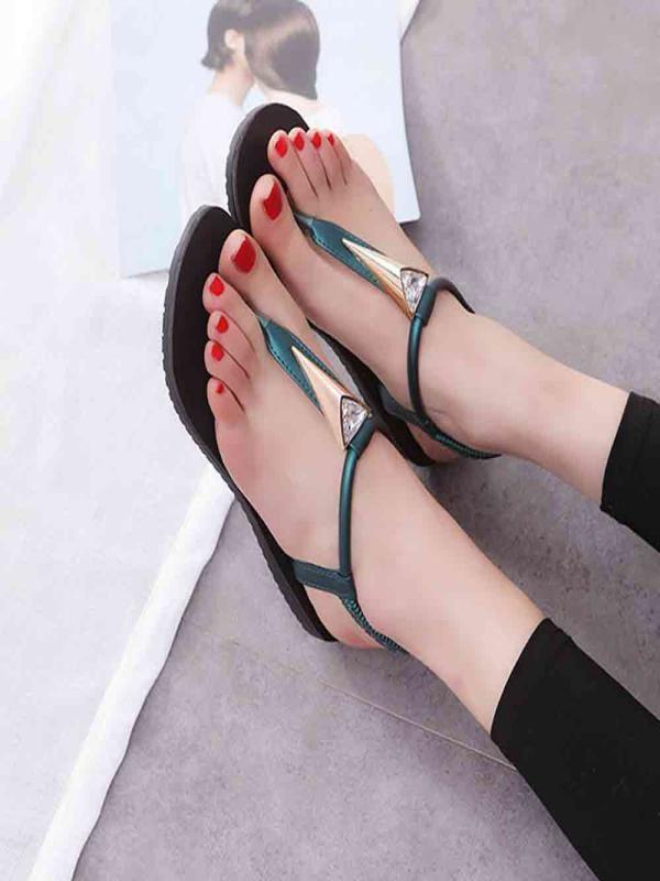 YOUYEDIAN Lady Sandals Flat-Shoes Peep-Toe Diamonds Bohemia Women -3 Leisure