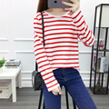 7colour 2017 Spring/Autumn student women's stripe o neck long sleeve slim loose plus size ladies under T-shirt tops for women
