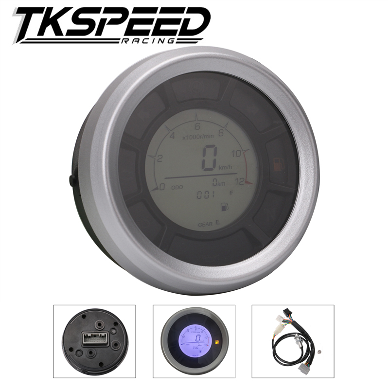 12000RPM 199km/h LCD Digital 95mm Odometer Speedometer Tachometer Gauge for Universal Motorcycle