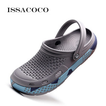 ISSACOCO Men's Slippers Jelly Shoes Hole Shoes Hole Breathable Shoes For Men Beach Sandals Summer Beach Flip Flops Pantuflas недорого