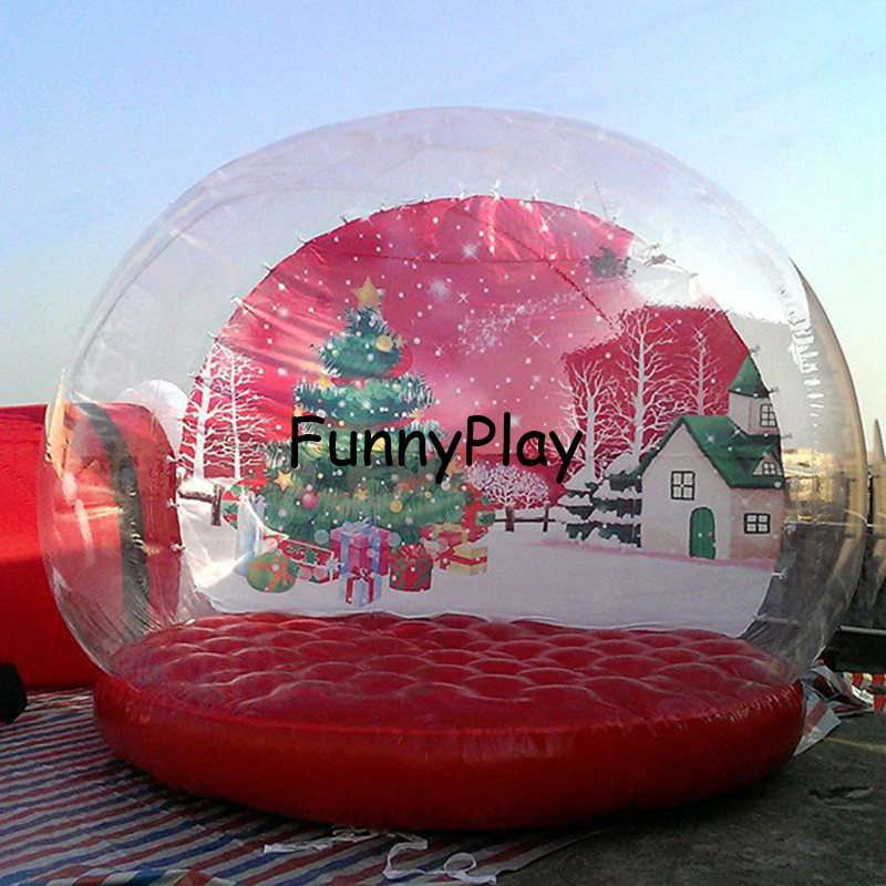 inflatable globe housing tent,holiday photo booth,free shipping hot selling 3m inflatable christmas snow globe pop up dome tent