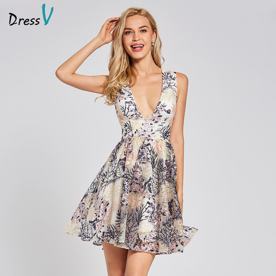 Dressv ivory cocktail dress cheap v neck a line sleeveless zipper up graduation party dress elegant fashion cocktail dress