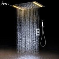 Hm 2 способа Роскошные на потолке, набор для душа термостатический смеситель Ванная комната светодиодный осадков светодиодный Насадки для д