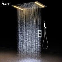 Hm 2 Yolları Lüks Tavana Monte Duş Seti Termostatik Mikser Banyo Led Yağış LED Duş Başlığı 360*500mm renk Duş