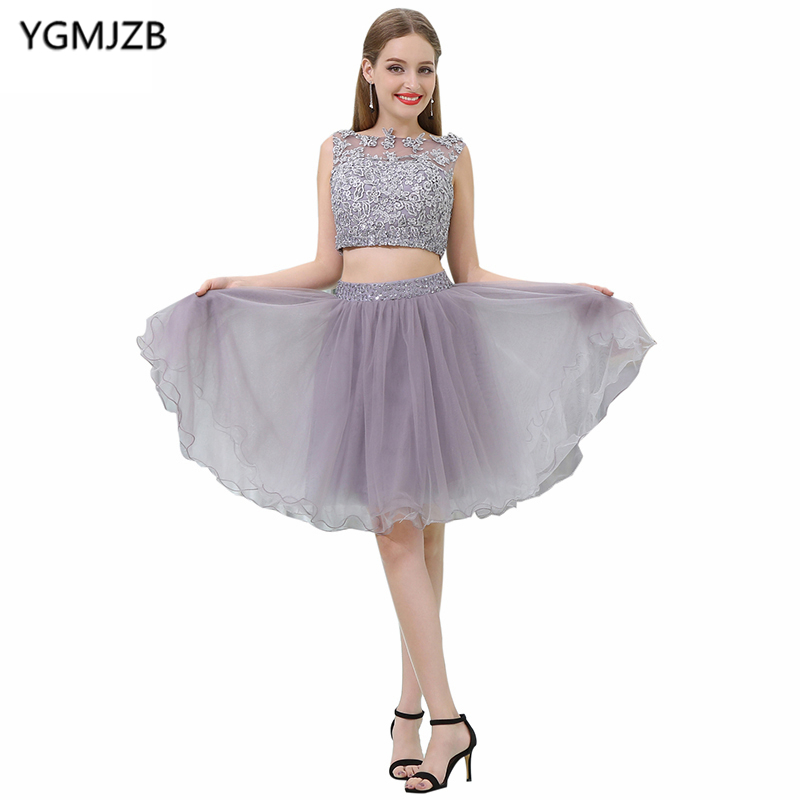 Two Piece Short   Prom     Dresses   2018 A-Line Scoop Cap Sleeve Beaded Appliques Lace Cocktail   Dress   Knee Length Robe De Cocktail Gown