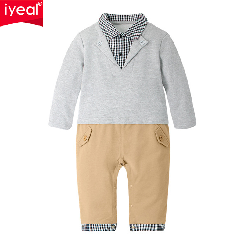 IYEAL 2018 Kids Baby Boy Gentleman Suit Newborn Boys Clothes Fake Two Pieces Baby Rompers Toddler Jumpsuit Body Infant Clothing mother nest 3sets lot wholesale autumn toddle girl long sleeve baby clothing one piece boys baby pajamas infant clothes rompers