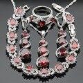 Cor prata Conjuntos De Jóias de Noiva Para As Mulheres Red Criado Garnet Branco CZ Colar Pingente Pulseiras Brincos Longos Anéis