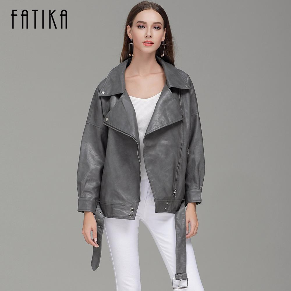 FATIKA 2017 Autumn Winter Fashion Women Faux Leather Jackets and Coats Zipper Up Loose Motorcycle Jacket Outwear With Waistband