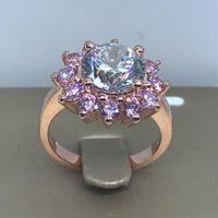 Роскошное кольцо с бриллиантом из розового золота, 3 карата, Женские Ювелирные изделия для помолвки (LMYS)