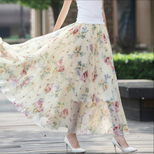 2017 new summer Fashion casual sexy chiffon printing Flowers Bohemia female women girls skirts clothes