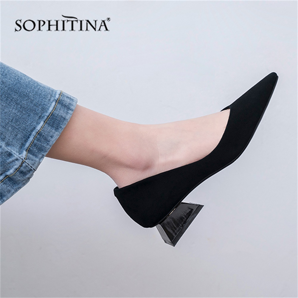 SOPHITINA 2019 Women s Pumps Genuine Leather Ladies Low Heel Shoes Pointed Toe Elegant Hand Made