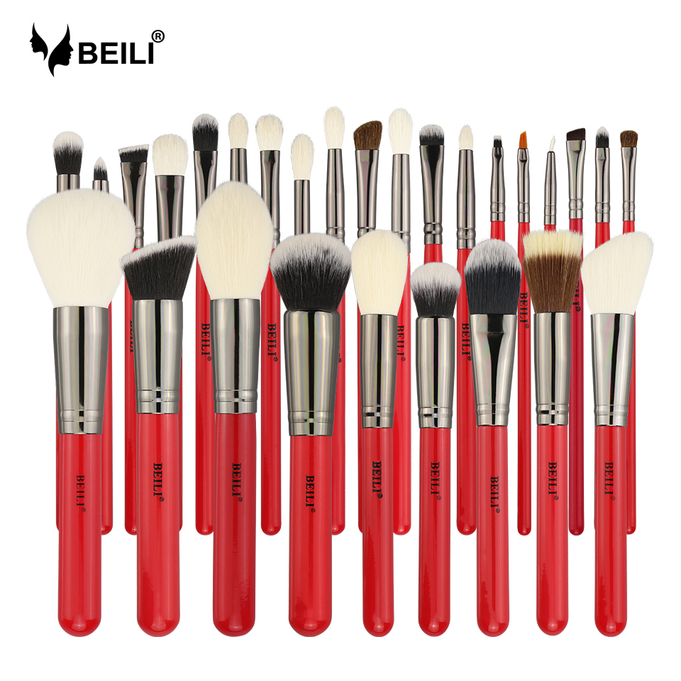 BEILI Red 28pcs Professional Makeup Brushes Set Natural Hair Powder Foundation Blusher Eyeshadow Eyebrow liner Makeup Brush Tool brushes natural 1pcs eyebrow foundation eyeshadow brush set 7 makeup case brushes soft wooden makeup holder cosmetic makeup hair