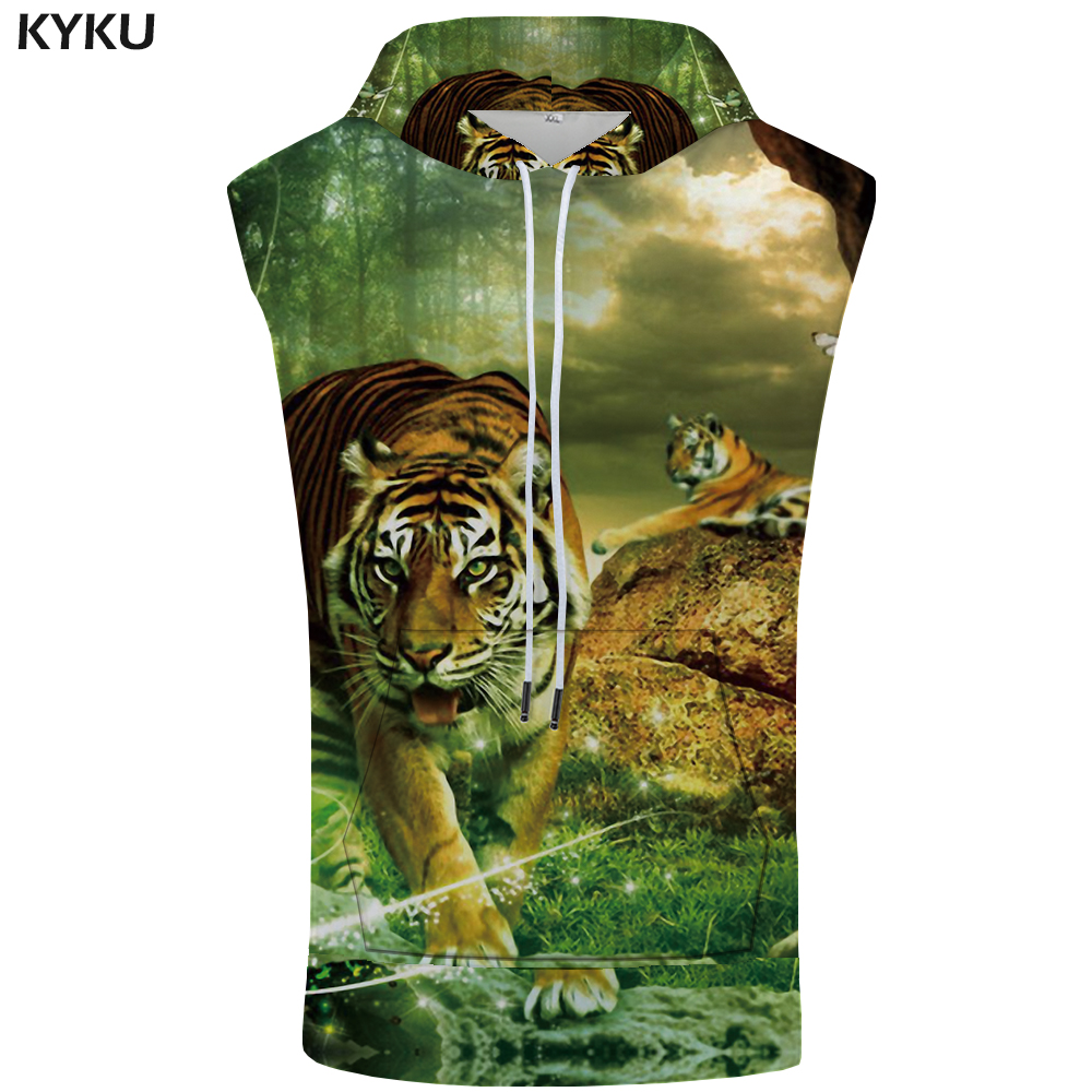 KYKU Brand Tiger Hooded Tank Top Men Forest Summer Animal Fitness Cloud Bodybuilding Shirt Sleeveless Mens Clothing Casual