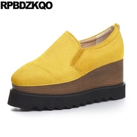 3 Inch Autumn Horsehair Platform Square Toe Creepers High Heels Yellow Ladies Green Wedge Shoes Genuine