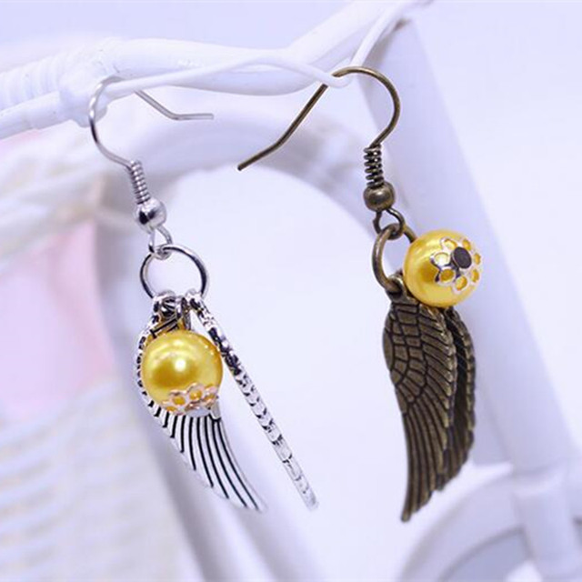 hot sell Fashion Jewellery  Harry Potter Golden Sniper Wings Alloy Earrings