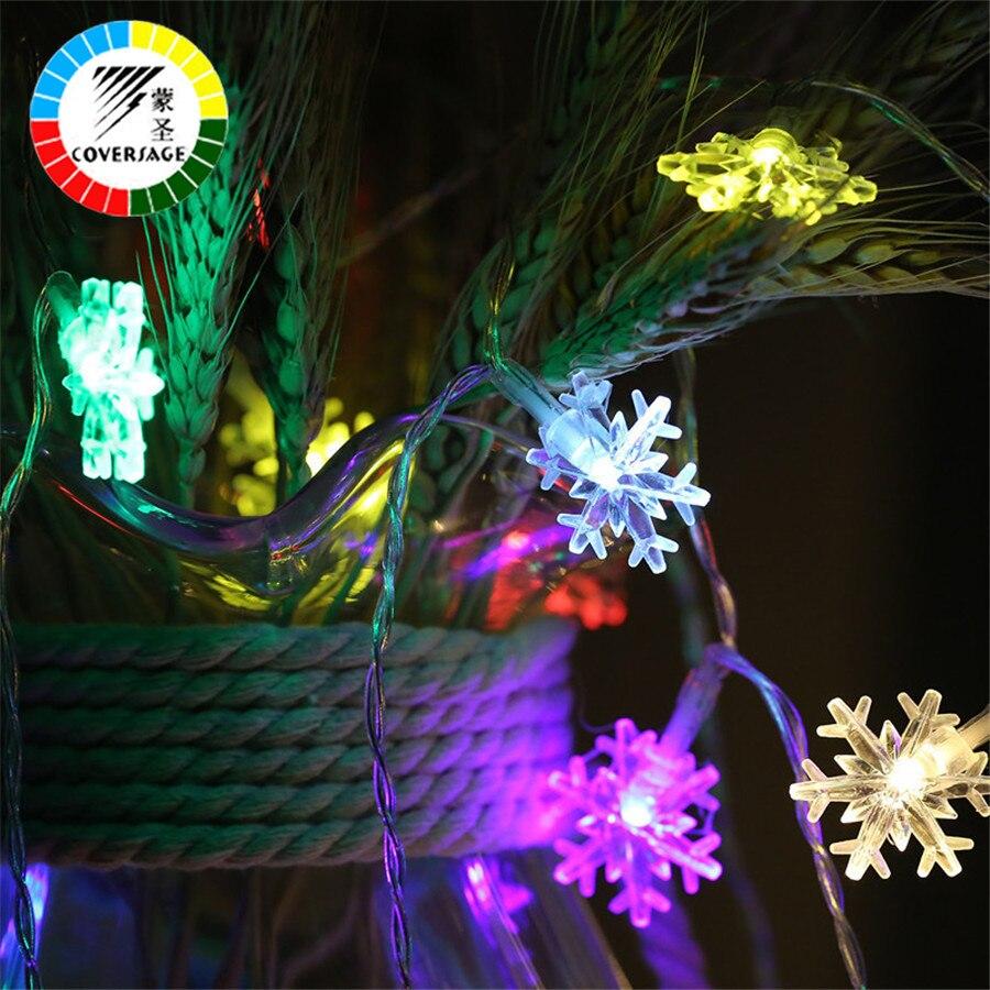 Coversage 10 m 100 Leds de copo de nieve de hadas guirnalda árbol de Navidad al aire libre cortina decorativa cortina Led luces de Navidad