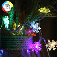 Coversage 10M 100 Leds Schneeflocke Fee String Girlande Weihnachten Baum Vorhang Im Freien Dekorative Vorhang Lichter Led Navidad