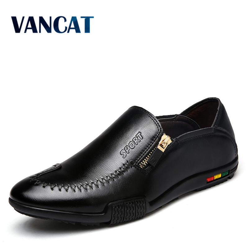 VANCAT  Fashion Men Leather Shoes Famous Brand Casual Man Shoes Luxury Italian Male Shoes Leather Mens Moccasins Men Loafers