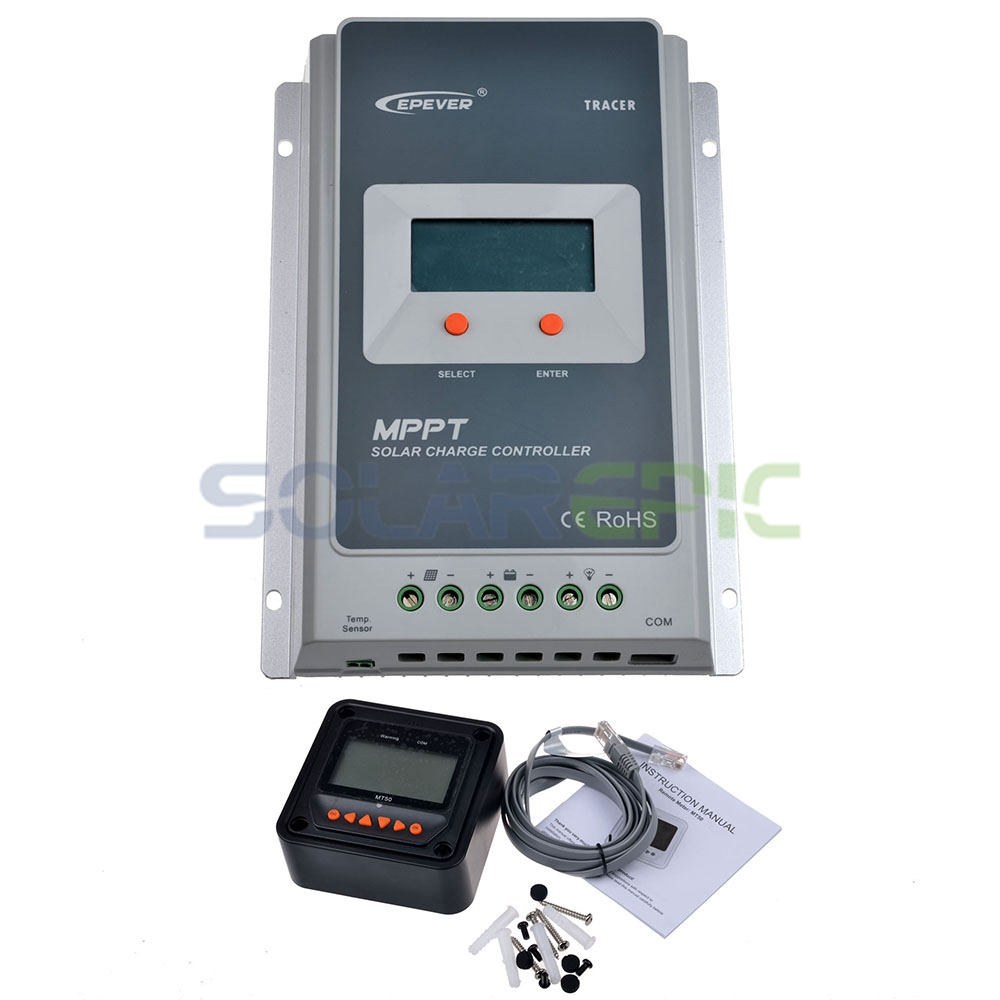 20A MPPT Solar Charge Controller + Remote Meter MT50 EPEVER Battery Regulator 100V PV Input 12V/24VDC AUTO With LCD Display 20a pwm duo battery solar panel charge controller regulator 12v 24vdc with remote meter mt1 control solar charger