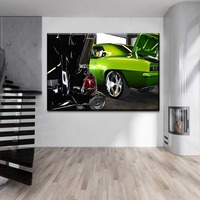 Canvas Painting Framework Wall Art Living Room Decor Picture 1 Pieces Modern HD Print Green Vehicle Chevrolet Camaro Poster