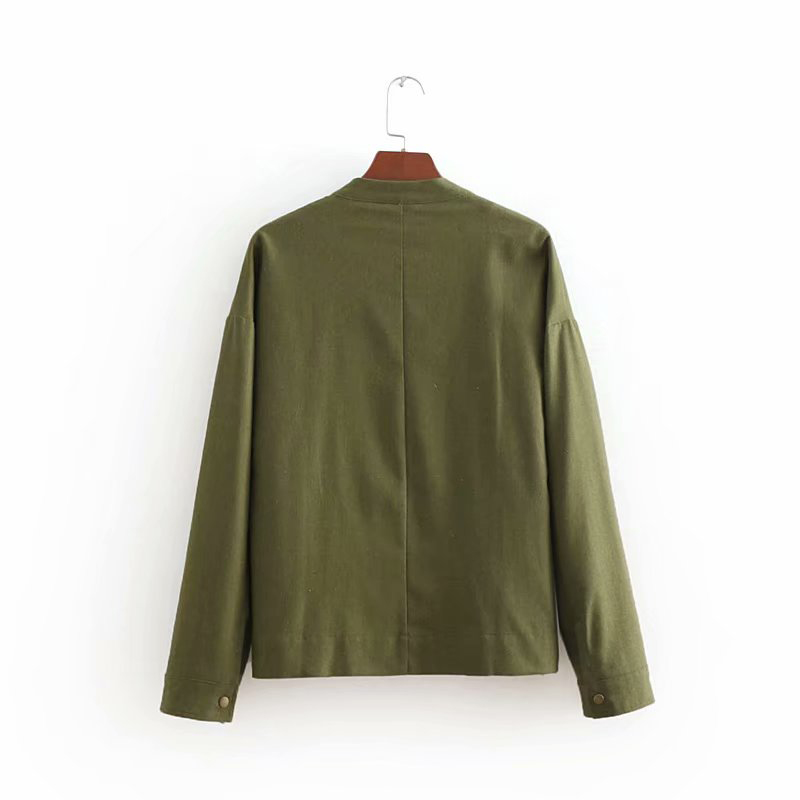 Geckoistail 2018 Women The Spring Autumn Linen Basic Jacket Coat Multicolor Collarless Elegant Jackets Coats Feminina Outerwear