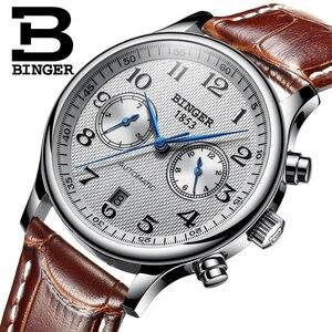 Image 4 - Switzerland Binger Luxury Brand Mens Watches Relogio Waterproof Watch Male Automatic Mechanical Men Watch Sapphire B 603 54