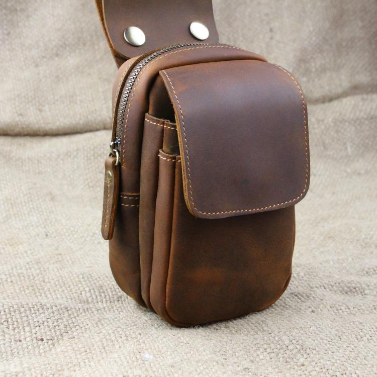 Antique Men Crazy Horse Leather Purse Head Layer Cowhide Man Bag Leather Phone Bag By Hand XY416