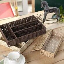 Multi-grid Handmade Straw Storage Box Straw Desktop Tea Set Storage Baskets Cosmetics Storage Box Vintage Jewelry Storage Case