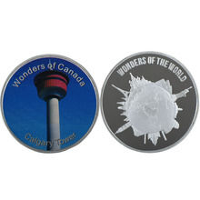 WR Quality 999.9 Silver Metal Colorful Coin Calgary Tower Commemorative Coins Canada Landscape Home Decoration(China)