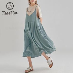 EaseHut V-neck Sleeveless Spaghetti Strap Dress One Piece Loose Casual Midi Dress Large Size Women Summer Dress and Sundress(China)