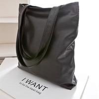 Fashion PU Leahter Reusable Shopping Bag Packet Black Color Women Handbag Big Women Shoulder Bag