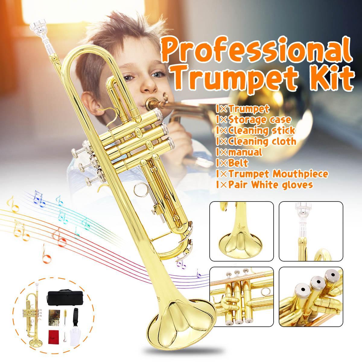 Instruments de musique en laiton professionnels trompette avec sac en laiton or trompette numérique mécanique tuyau de soudage musique adopte