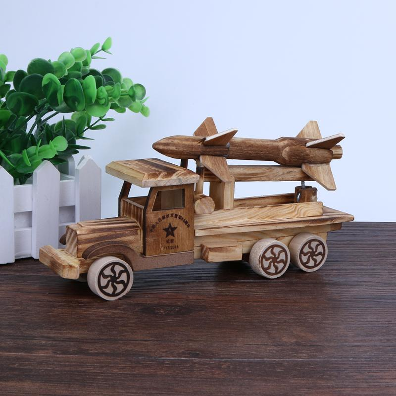 Wooden Vehicles Children Kids Toys Toy Car Rocket Chariot Model Scud Missiles Puzzle Educational Toys Juguetes