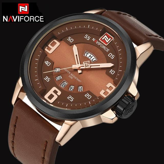 Relojes hombres naviforce marca moda casual hombres correa de cuero del reloj del cuarzo de orange buceo impermeable reloj relogio masculino