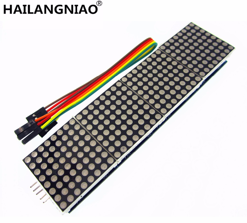 MAX7219 Dot Matrix Module Microcontroller 4 In One Display with 5P Line 4 in 1