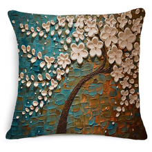 цены 3D Oil Painting Cushion Cover Tree Pillowcase For Sofa Artificial Tree Palm Tree Decorativos Cotton Linen Pillow Cover