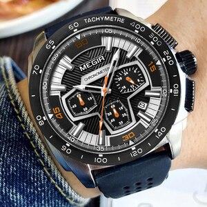 Image 2 - Часы MEGIR мужские кварцевые с хронографом, модные повседневные армейские спортивные, в стиле милитари, с силиконовым ремешком