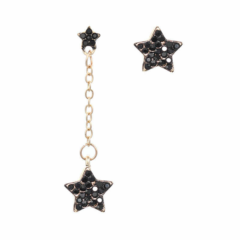 High Quality Exquisite Star Asymmetry Drop Earring Pave Shiny Black Rhinestone Dangle Earring For Wmen Summer Wholesale Price