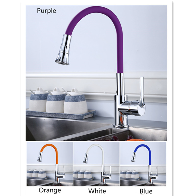 Kitchen Faucets Copper Multi Color Silica Gel Nose Any Direction Rotating Kitchen Faucet Rotate To Switch Water Outlet Mixer Tap