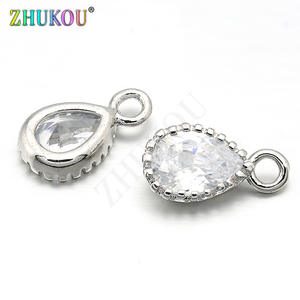 ZHUKOU Brass Cubic Zirconia Water Drop Charms Pendants