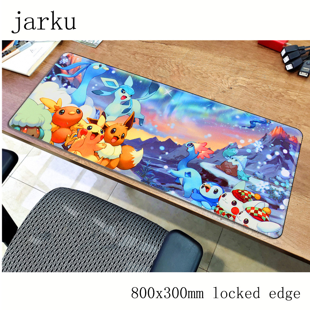 Pokemons mouse pad 800x300X2MM mouse mat laptop padmouse locked edge notbook computer gaming mousepad cute gamer play mats 4