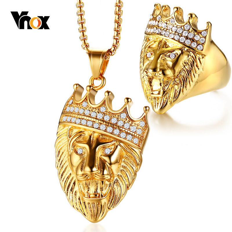 Vnox Gold Tone Lion Head Jewelry Sets for Men Rock Punk Stainless Steel Ring and Necklaces Accessories Male Boy Party Gifts delicate lion head shape ring for men