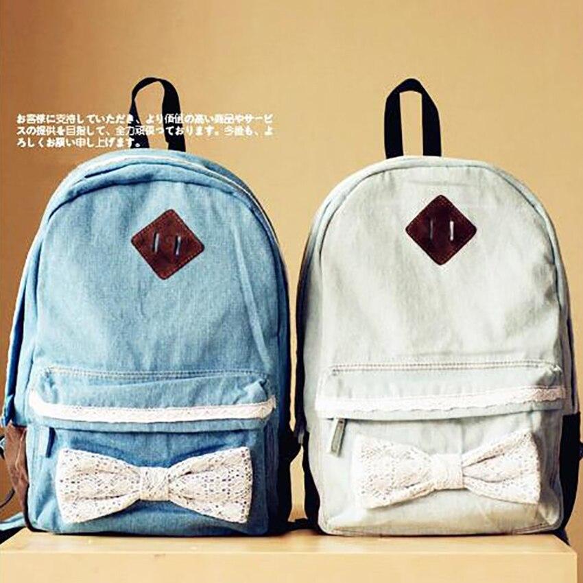 0cc0c1641b Famous Designer women canvas backpack Japanese female literary girls denim  backpacks lace bow backpacks for teenage mochilas