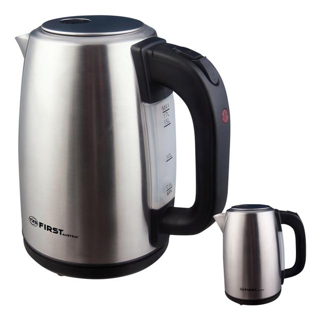 Чайник электрический FIRST FA-5410-0 Stell (мощность - 2200 Вт, корпус - нержавеющая сталь, объем 1.7л., Отсек для хранения шнура)